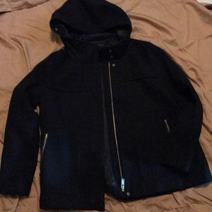 Black hooded wool Zara jacket